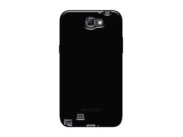 AMZER Black Soft Gel TPU Gloss Skin Case For Samsung Galaxy Note II AMZ95020