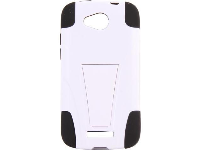 AMZER Black / White Double Layer Hybrid Case with Kickstand For HTC One VX AMZ95416