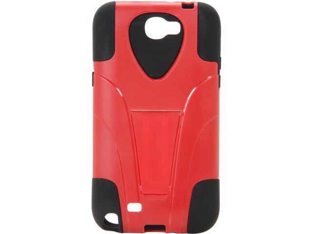 AMZER Black / Red Double Layer Hybrid Case with Kickstand For Samsung Galaxy Note 2 AMZ95418