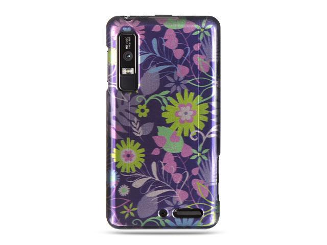 Motorola Droid 3 Blue Multi Weed Design Crystal Case