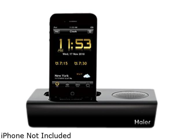 Haier Black 30-Pin Rise iPod iPhone App Clock Radio and Docking Station IPDS-1