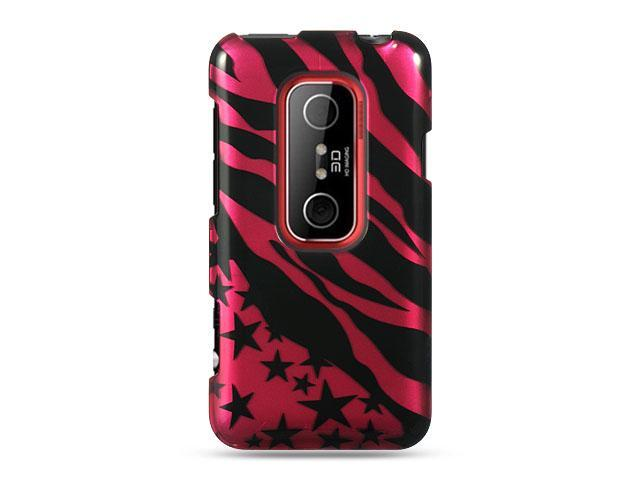 HTC EVO 3D Hot Pink with Zebra and Star Design Crystal Case