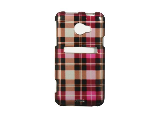 HTC EVO 4G LTE Hot Pink Checker Design Crystal Case