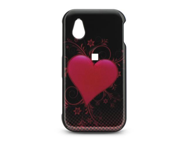 LG Arena/LG GT950 Black with Carbon Fiber Heart Design Crystal Case