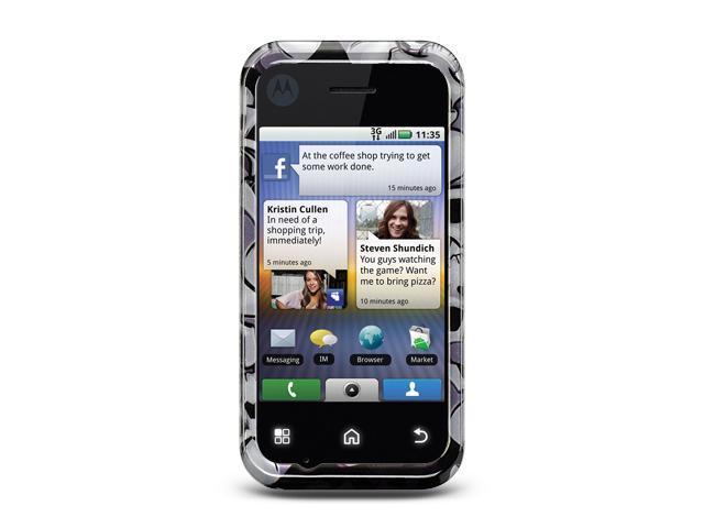 Motorola V300/Motorola Backflip MB300 Black Skull Design Crystal Case