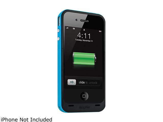 mophie Juice Pack Plus Cyan 2000mAh Battery Case For iPhone 4 / 4S 1161_JPP-IP4-CYN
