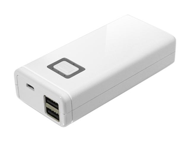 Aluratek White 8000 mAh Dual USB Portable Battery Charger APB02F