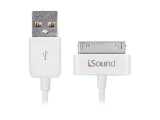 iSound ISOUND-1663 White Charge & Sync Cable For iPod, iPhone, and iPad