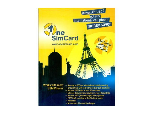 OneSimCard International SIM Card for Prepaid Mobile Service in 190 Countries w/ $10 Airtime (ONESIM1)