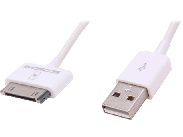 SCOSCHE IPUSB2 White 3.5 ft. Syncable USB 2.0 Cable for iPad, iPhone or iPod