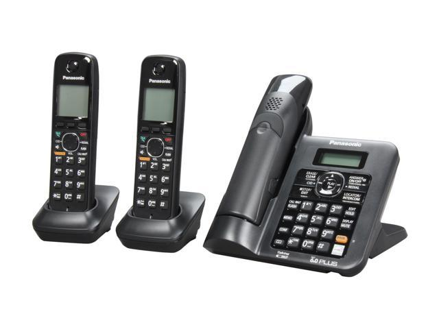 Panasonic KX-TG6643B 1.9 GHz Digital DECT 6.0 3X Handsets Cordless Phones Integrated Answering Machine