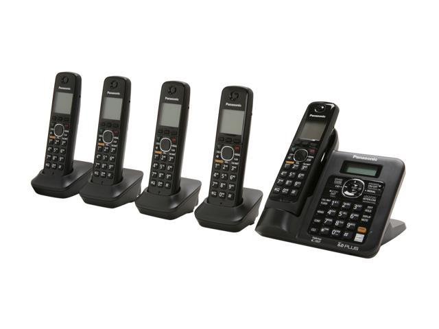Panasonic KX-TG6645B 1.9 GHz Digital DECT 6.0 5X Handsets Cordless Phones Integrated Answering Machine