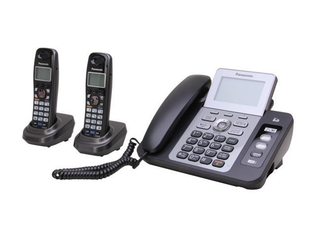 Panasonic KX-TG9472B 1.9 GHz Digital DECT 6.0 2X Handsets Cordless Phones Integrated Answering Machine