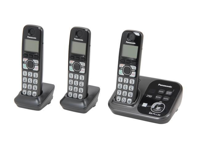 Panasonic KX-TG4753B 1.9 GHz Digital DECT 6.0 3X Handsets Cordless Phones with Range Booster Integrated Answering Machine