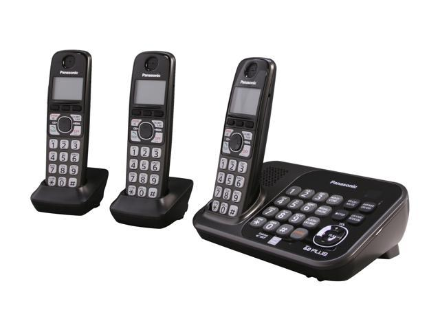 Panasonic KX-TG4743B 1.9 GHz Digital DECT 6.0 3X Handsets Cordless Phones Integrated Answering Machine