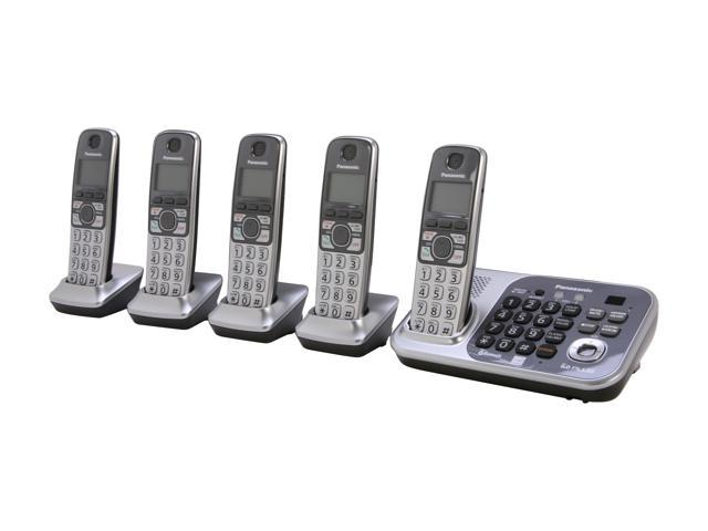 Panasonic KX-TG7745S 1.9 GHz Digital DECT 6.0 Link to Cell via Bluetooth Cordless Phone with Integrated Answering Machine and 5 Handsets