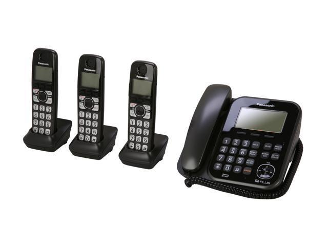 Panasonic KX-TG4773B 1.9 GHz Digital DECT 6.0 3X Handsets Cordless Phones Integrated Answering Machine