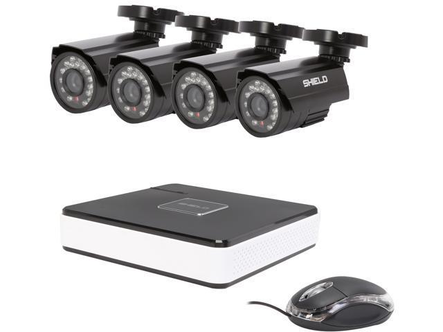 SHIELDEYE RSCM-0704B042, 4 Channel H.264 Level Surveillance DVR Kit + 4 x 700TVL Cameras, Night Vision up to 65ft (Remote Viewin at Sears.com