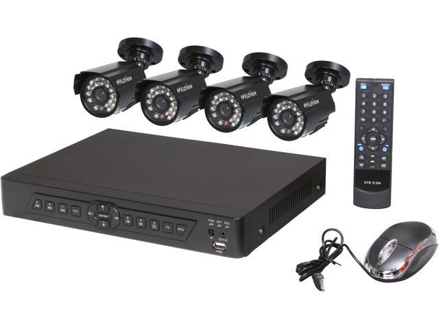 LaView LV-KDV0404B5B Complete 4 Channel Security DVR System Easy DIY Four 520TVL Infrared Surveillance Cameras (No HDD)
