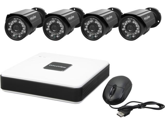 LaView LV-KD5144B 4 Channel Complete 4 CH D1 Compact Security DVR Cloud System w/ Easy DIY Two 600TVL Infrared Surveillance ...