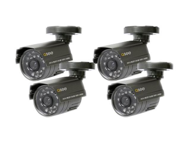 Q-See QSM1424C4 400 TV Lines MAX Resolution BNC (F), 12VDC 2.1mm (F) 4 Pack Weatherproof Color CMOS Camera Kits with PixelPlus Sensor
