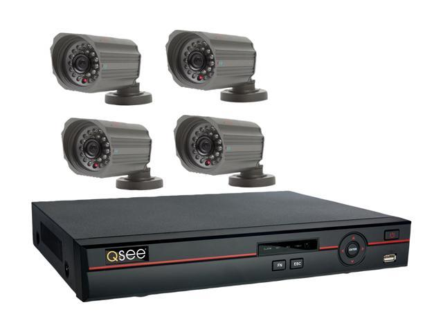 Q-See QC448-418-5 8 Channel H.264 Level Surveillance DVR Kit, 4 x CCD Sensor Day/Night Wide Angle View Lens Outdoor Camera, Pre-Installed 500GB HDD