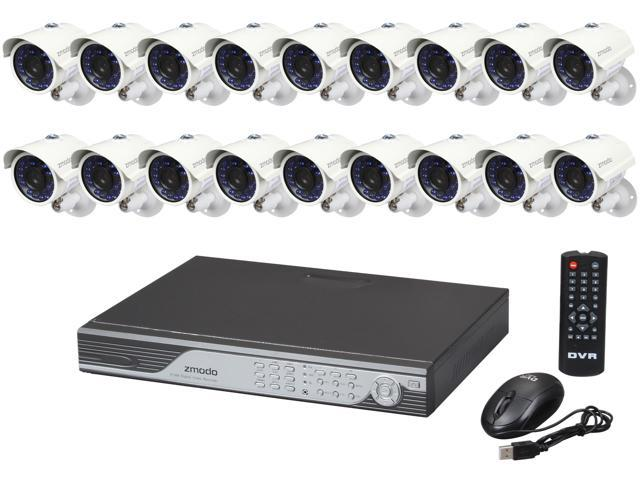 Zmodo KDF6-YARUZ6ZN 16 Channel 60H Real-Time DVR Security System & 16 700TVL Night Vision Outdoor Cameras - Mac Compatible