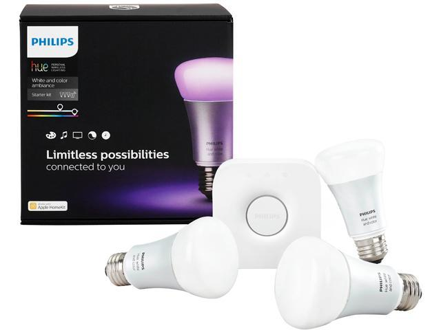 philips hue white and color ambiance a19 bulb starter kit. Black Bedroom Furniture Sets. Home Design Ideas