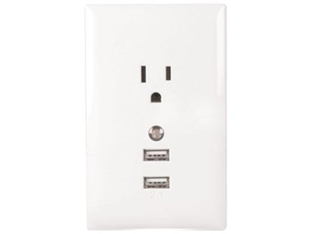 RCA WP2UNLW Wall Plate Usb Charger With Night Light