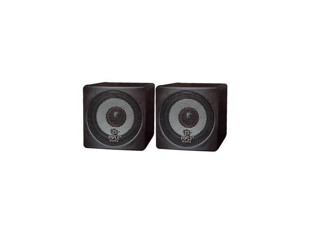 PYLE PCB3BK Mini Cube Bookshelf Speaker (Black) 3'' 100 Watt Pair