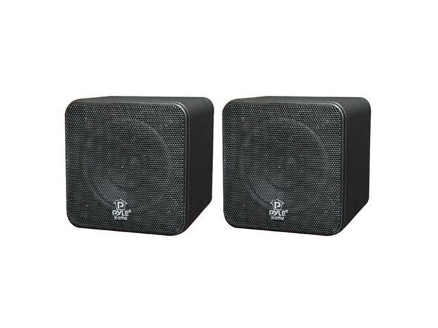 PYLE PCB4BK 4'' 200 Watt Black Mini Cube Bookshelf Speaker Pair