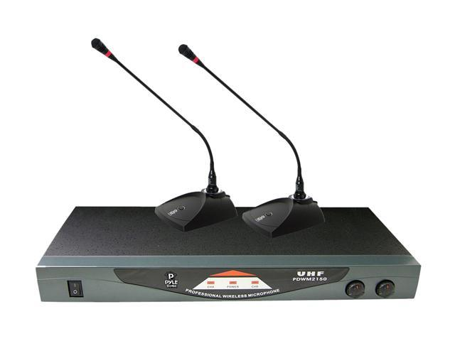 Pyle PDWM2150 Professional Dual Table-Top VHF Wireless Microphone System