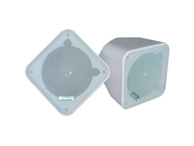 PyleHome PDWP5WT 5'' Weatherproof Indoor/ Outdoor Full Range Two-Way Multi-Mount Speaker Enclosures (White) Pair