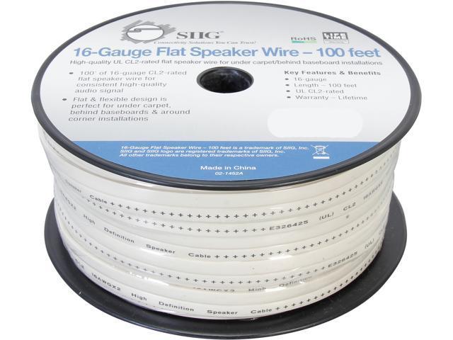 SIIG Model CB-AU1612-S1 100 ft. 16-Gauge Flat Speaker Wire