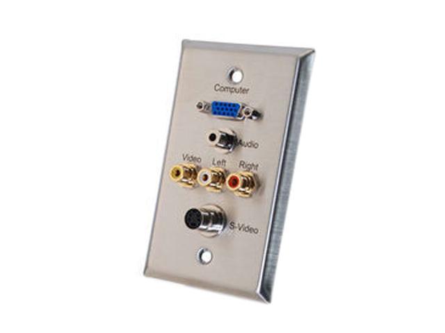 C2G 40962 Single Gang HD15 VGA + 3.5mm + S-Video + RCA Audio/Video Wall Plate