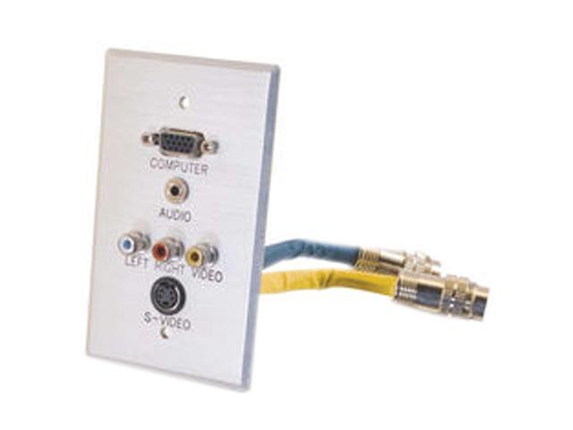 C2G 42322 RapidRun Single Gang Integrated HD15 + 3.5mm + S-Video + RCA Audio/Video Wall Plate