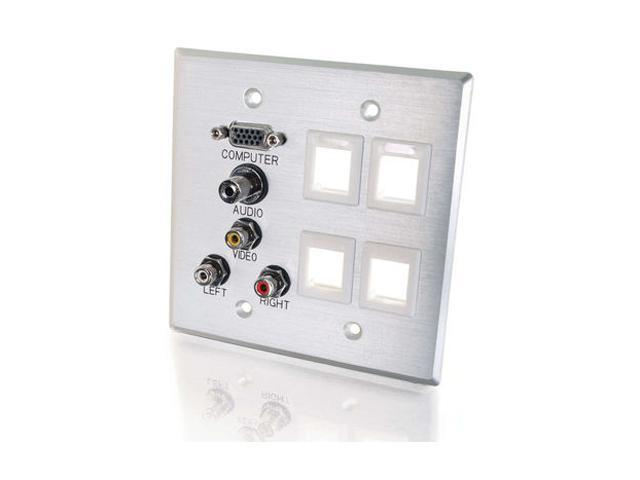 C2G 40509 Double Gang Wall Plate - Brushed Aluminum