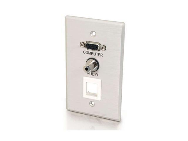 C2G 40572 VGA and 3.5mm Audio Pass Through Single Gang Wall Plate with One Keystone