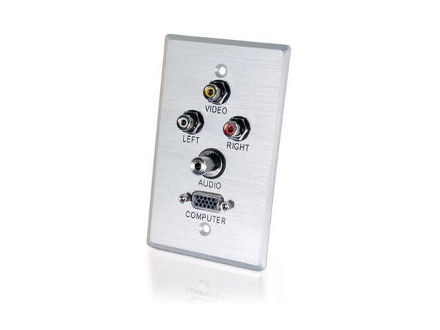 C2G 40498 Single Gang HD15 VGA (Bottom) + 3.5mm + Composite Video + Stereo Audio Wall Plate - Brushed Aluminum