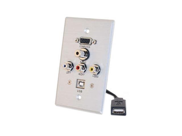 C2G 40543 Single Gang HD15 + 3.5mm + RCA A/V + USB Wall Plate