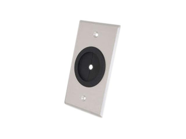 C2G 40489 Single Gang 1.5in Grommet Wall Plate - Brushed Aluminum