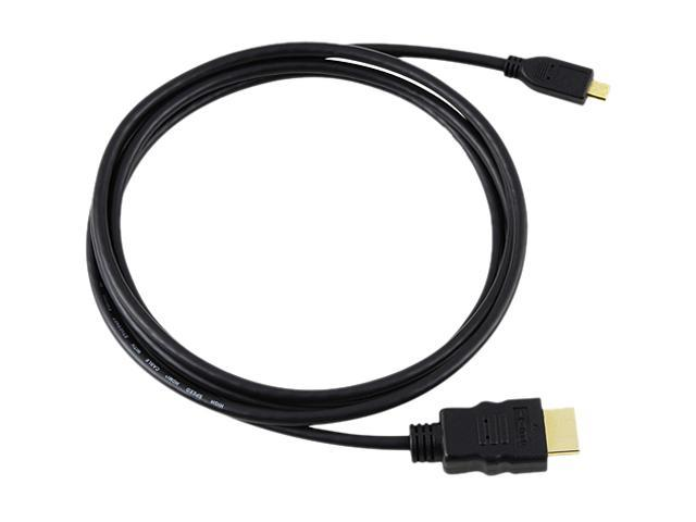Insten 675797 6 ft. Black / Gold HDMI Type A (Male) to HDMI Type D (Male) High Speed HDMI Cable with Ethernet Type A to D M / M