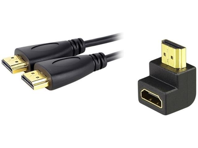 Insten 269018 10 ft. Black 1X High Speed HDMI Cable w/ 1x HDMI F/M Right Angle Adapter M-M