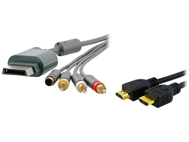 Insten Model 1926490 AV Composite and S-Video Cable + High Speed HDMI Cable M/M For Microsoft Xbox 360 / Xbox 360 Slim