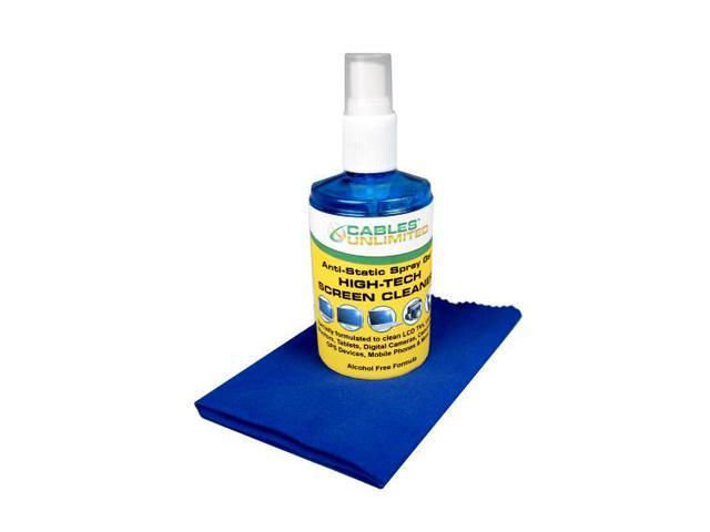 Cables Unlimited ACC-SC200 Spray Gel Screen Cleaner 200ml with large 30cm Microfiber Cloth