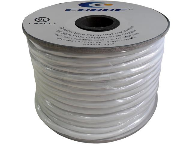 Coboc Model SPW-CL2-4C12-250-WH 250ft 12AWG CL2 Rated 2-Conductor Enhanced Loud Oxygen-Free Copper OFC Speaker Wire Cable (For In-Wall Installation)