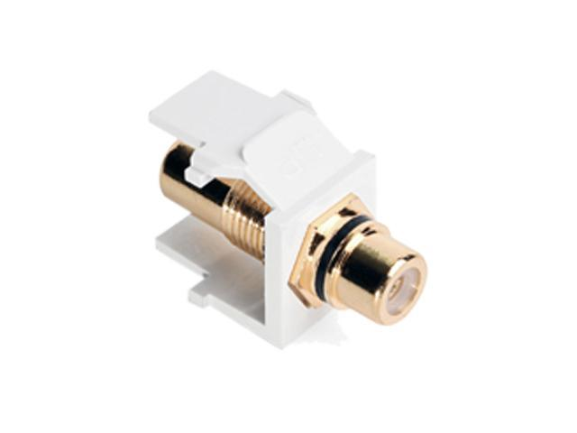 Leviton 40830-BWE Quickport RCA Gold-Plated Connector With Black Stripe