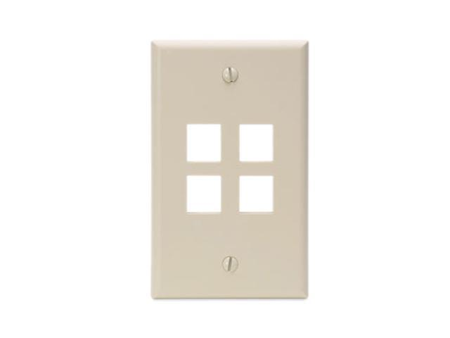 Leviton 41080-4IP QuickPort Wallplate, single gang, 4-port