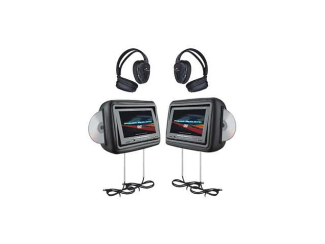 """Power Acoustik 1-Pair Universal Headrest 8.8"""" Monitor with DVD (Beige)"""