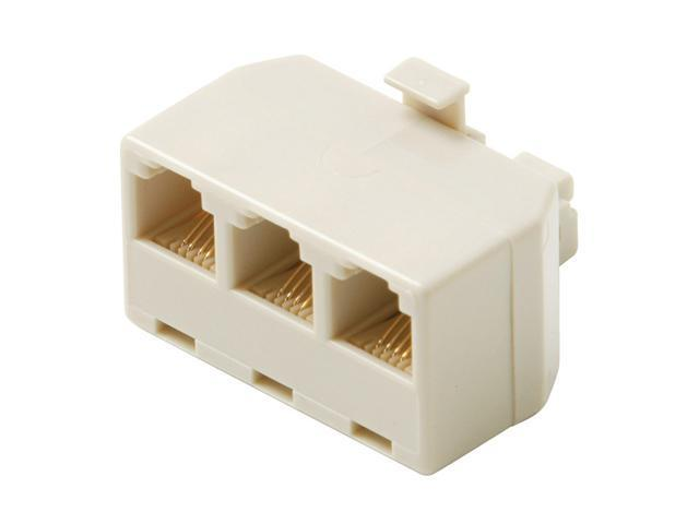Steren BL-320-124IV 6-Conductor Triplex In-Wall Adapter, Ivory
